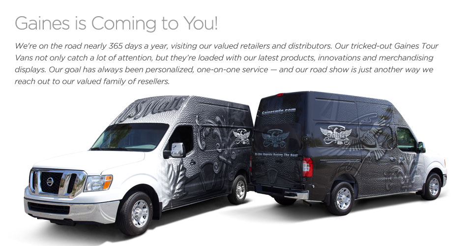 Gaines Manufacturing Tour Vans are on the road
