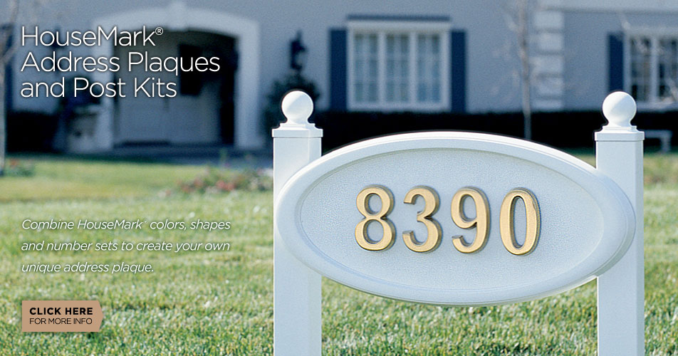 Gaines Manufacturing HouseMark address plaques and post kits